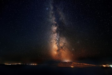 Santorini island with milkyway