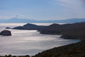 View from distance on sea greek islands