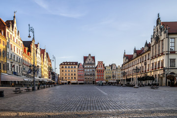 Empty Market Square early in the morning, copy space. Wroclaw, historical old town, Poland.