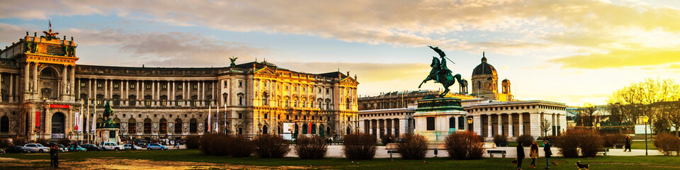 Statue of Archduke Charles in Vienna, Austria at sunset