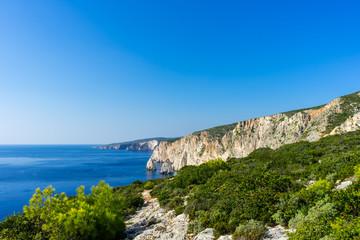 Greece, Zakynthos, Beautiful white cliffs of agalas