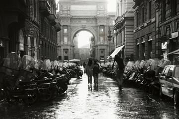 firenze street rain italy