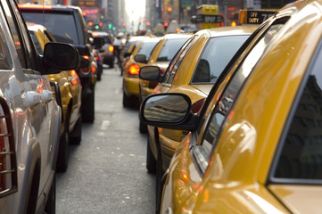 taxi cabs in traffic