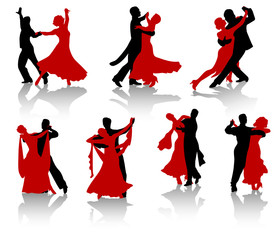 Silhouettes of the pairs dancing ballroom dances.