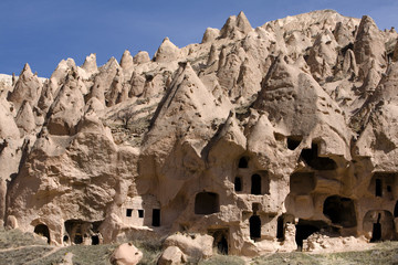 Ancient cavetown near Goreme, Cappadocia, Turkey