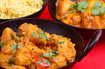 Indian vegetable curry, in a balti serving dish