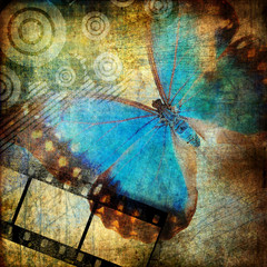 grungy artwork with butterfly
