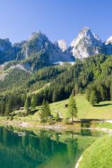 alpine lake scenery in the summer