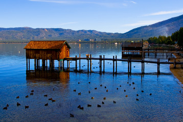 Little cabins on the Lake Tahoe