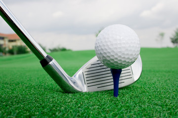Golf ball ready to tee Mirror