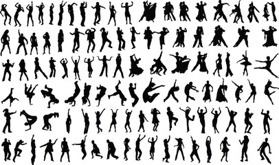 silhouettes of dancing people