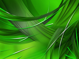 Abstract green Composition with lines and curves