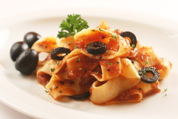 Tagliatelle with Tomato Sauce and Black Olives