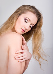Gorgeous beauty portrait of a young blond