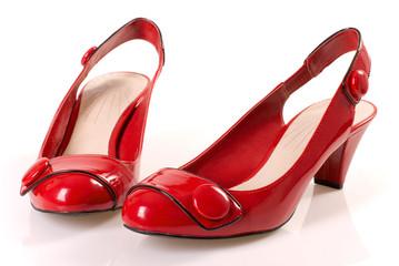 Czerwone buty.