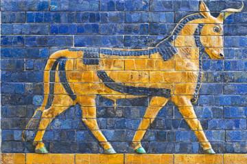 Golden Calf, ancient mosaic, Assyria