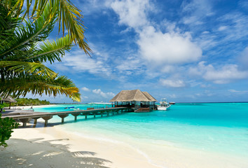 footbridge connecting with the thatched jetty in maldives