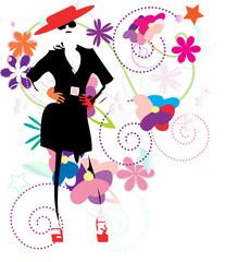 The fashionable girl among florets