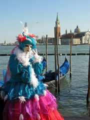 beautiful and colorful mask during Carnival in Venice