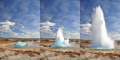 Erupcja gejzeru krokami, Islandia
