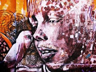 dziewczyna graffiti - ptak
