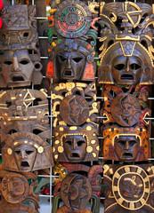 aztec mayan wooden indian mask handcrafts