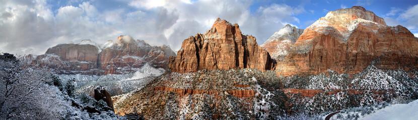 Sandstone Peaks In Winter, Zion NP, Utah