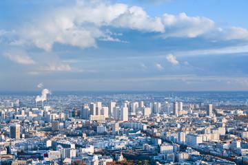 big city under high blue sky