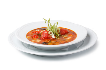 Italian soup on a White background