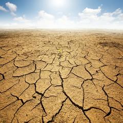 Suszona ziemia z popękaną ziemią. Pustynia