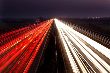 Light trails on a mototrway