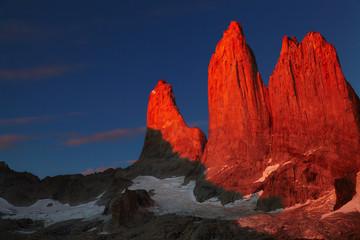 Torres del Paine at sunrise, Patagonia, Chile