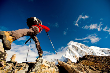 Hiker in Himalaya mountains