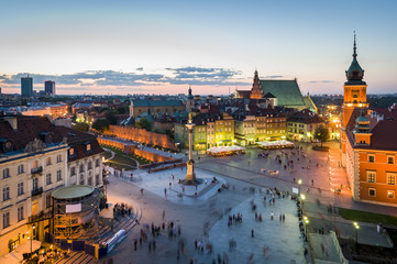 Panorama of Warsaw with Old Town at night