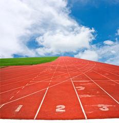 Running lane with blur sky