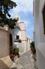 Earthquake damaged Messa Gonia ,island of Santorini Greece