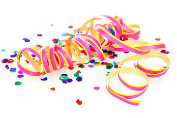 Colorful confetti and party streame