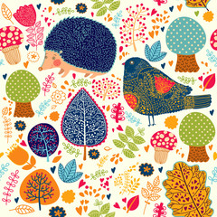 Autumn seamless pattern with flowers, trees, leaves and crew cut