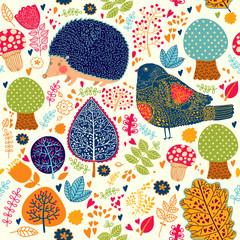 Jesienny wzór z kwiatów, drzew, liści i cięcia załogi