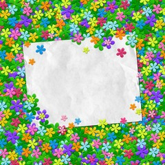 piece of paper and colorful flowers