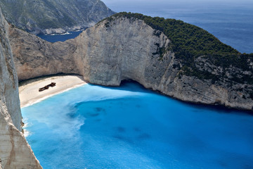 Navagio beach at Zakynthos island in Greece