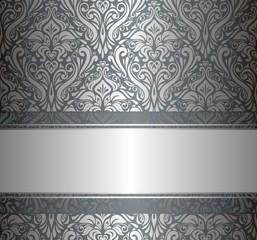 Luxury Silver  vintage wallpaper