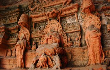 Buddha wall at the Leshan Giant Buddha in Mt.Emei of china.