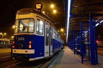 Vintage tram by night