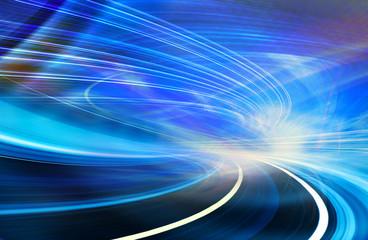 Abstrakcjonistyczna ruch technologii tła ilustracja, błękit wyginający się kształty światłowód wlec ślada