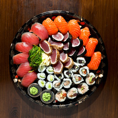 sushi on the black plate