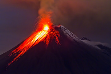 eruption of the volcano with molten lava