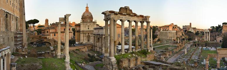Panorama of the Roman Forum at sunset