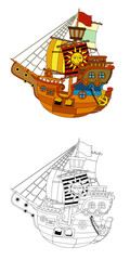 The coloring page - pirate ship