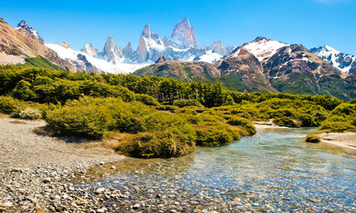 Beautiful landscape with Mt Fitz Roy in Patagonia, South America